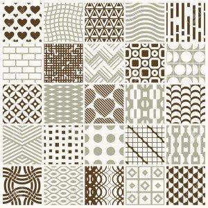 Vector ornamental seamless backdrops set, geometric patterns col